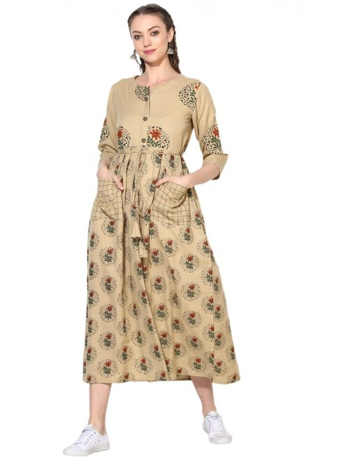Women Fit and Flare Beige Dress