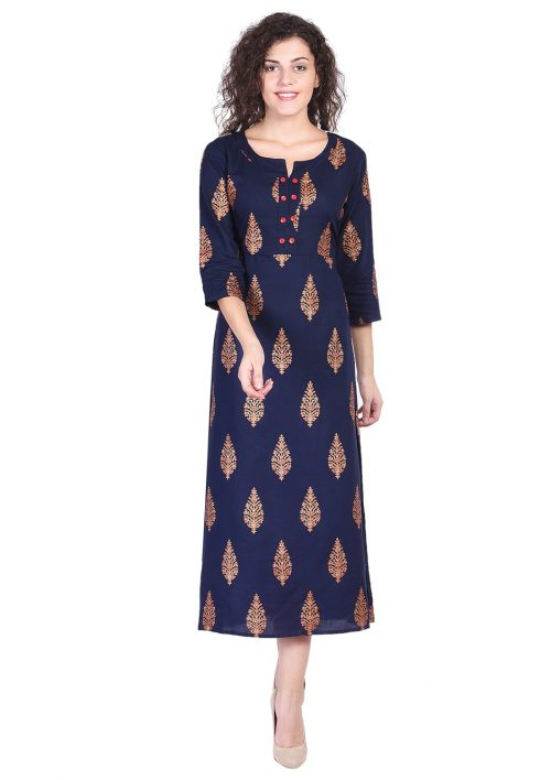 Navy Blue Gold Printed Long Kurta
