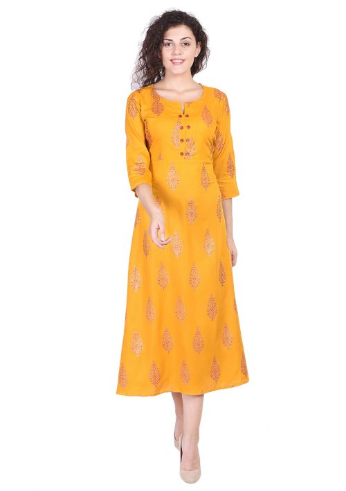 Mustard Gold Printed Long kurti