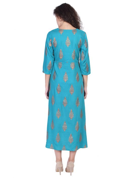 Turquoise Blue Gold Pritned Long Kurta
