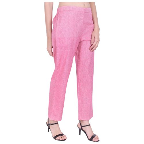 Regular Fit Pink Cotton Trousers