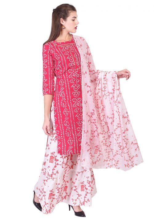 Red Kurta Set with Sharara and Dupatta