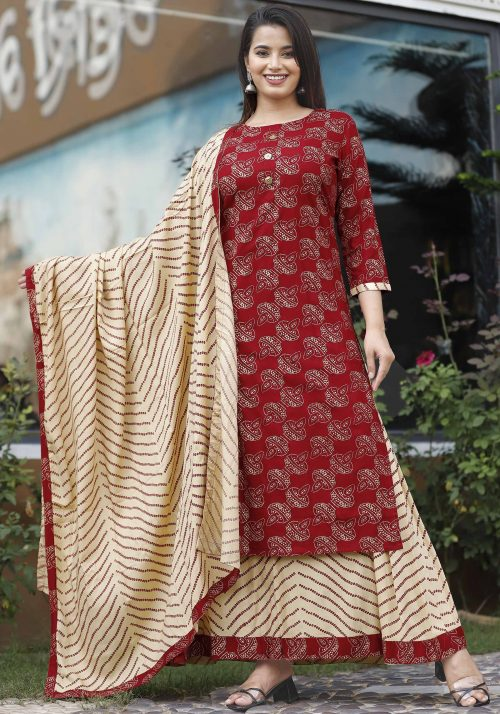 Vastralay Rayon Gold PRinted Kurta with Skirt and Dupatta
