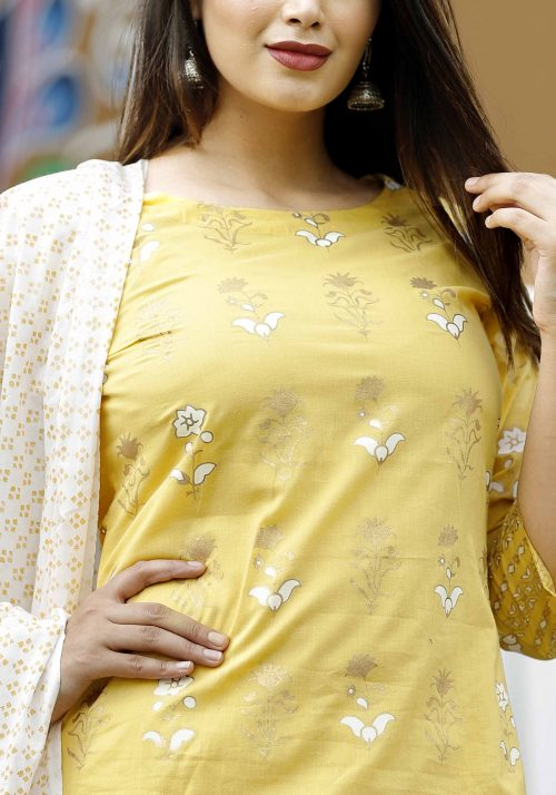 Vastralay Cotton Yellow GOld PRinted Kurta with matching trouser and dupatta