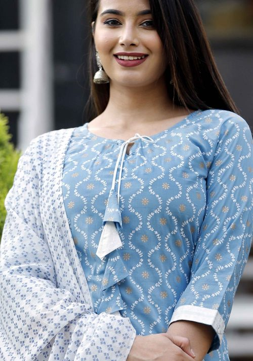 Vastralay Gold Printed Blue Kurta with Sharara & Dupatta