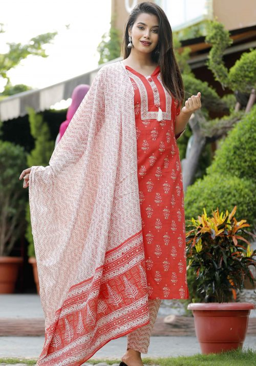 HandBlock Printed Kurta with Sharara and matching Dupatta