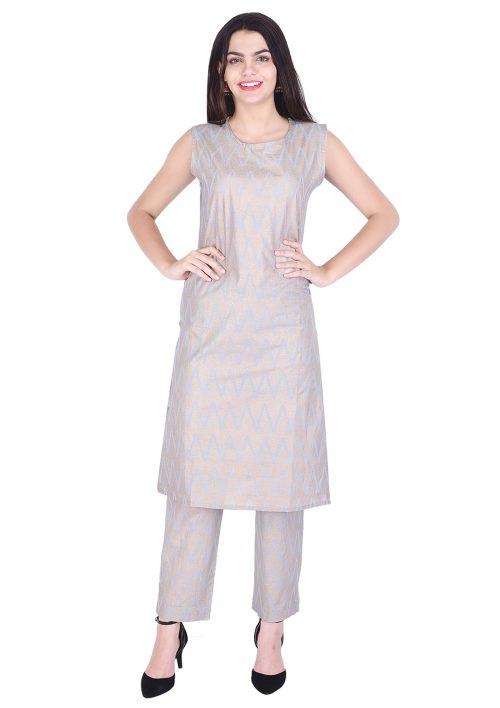 Vastralay Cotton Gold Printed Blue Kurta with Trouser