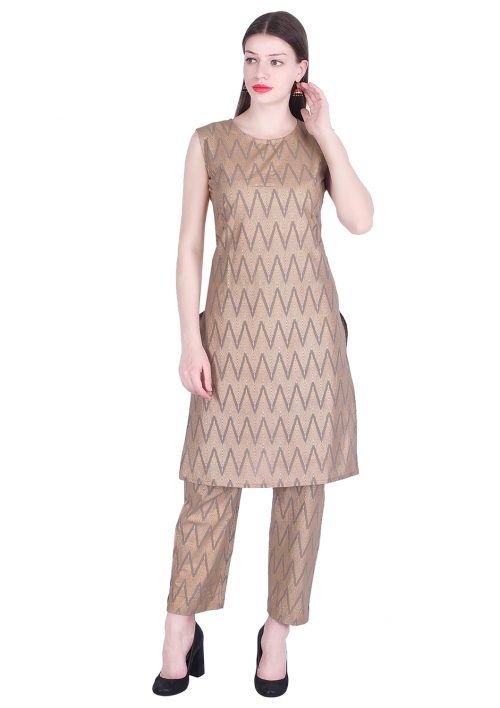 Vastralay Cotton Gold Printed Brown Kurta with Trouser