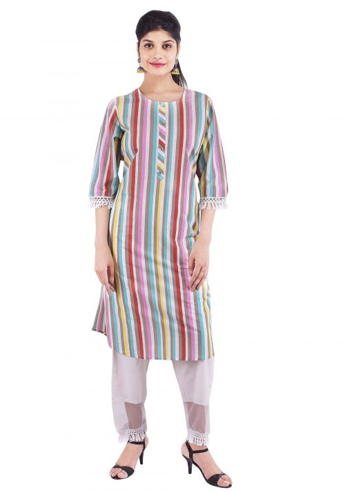 Cotton Printed Stripes Straight Kurti with Net Trouser