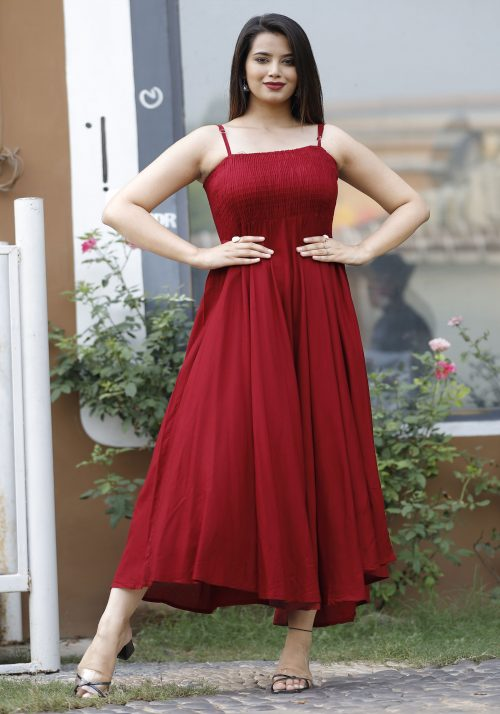 Vastralay's Maroon Party Wear Long Gown