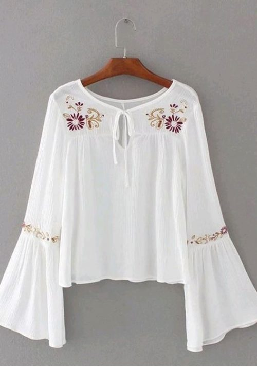 Rayon Embroidery White Top