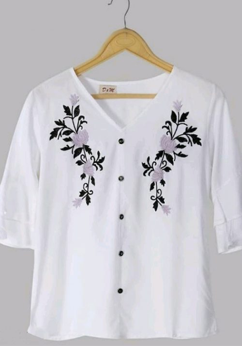 Rayon Embroidery Designer White Top