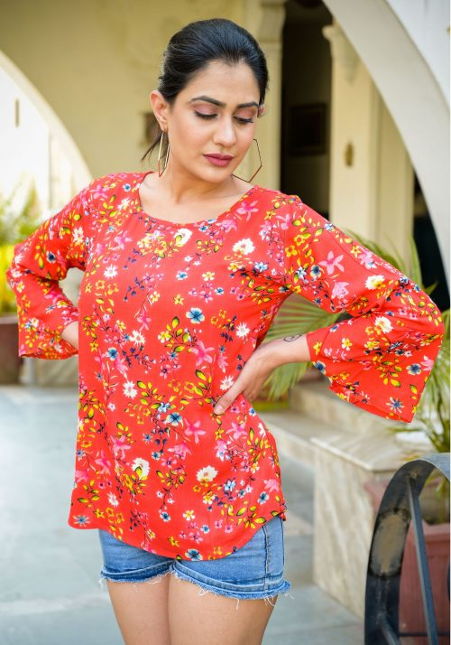 Vastralay Rayon Flower Printed Red Top