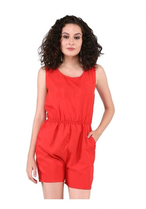 Red Poly Crepe Jump Suit
