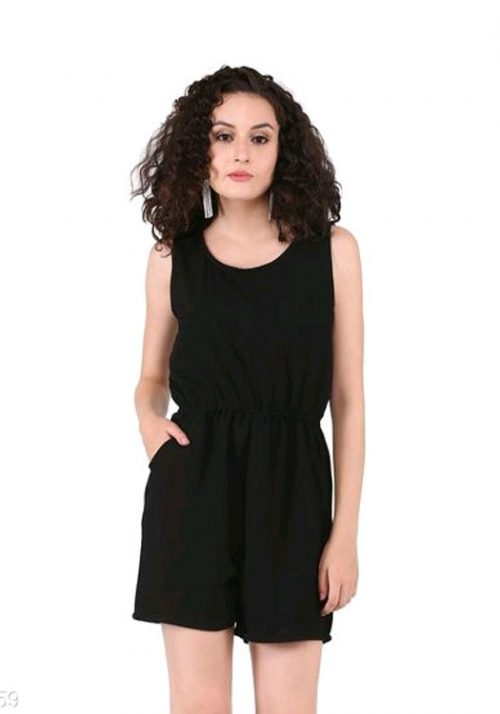 Vastralay Poly Crepe Black Jump Suit