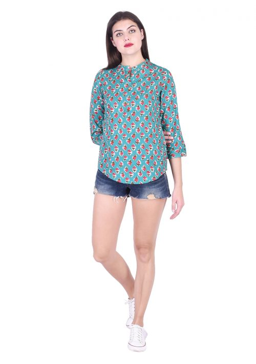 Casual Regular Sleeve Printed Soft Fabric Green Top
