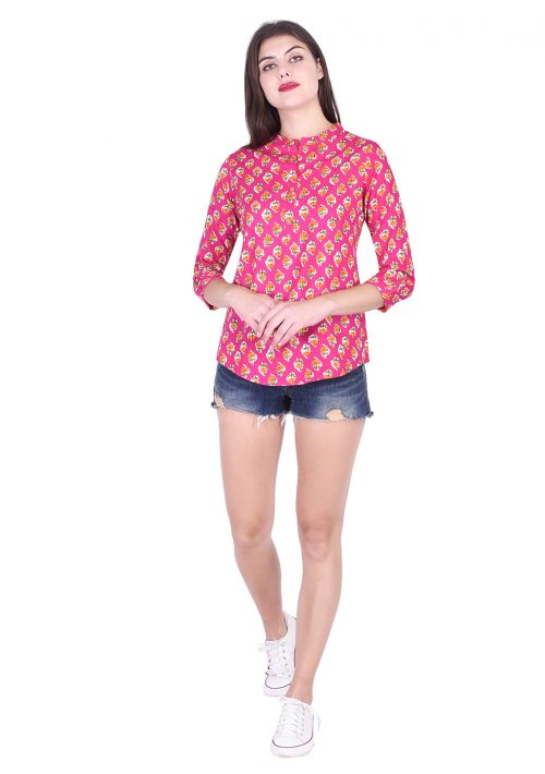 Casual Regular Sleeve Printed Soft Fabric Pink Top