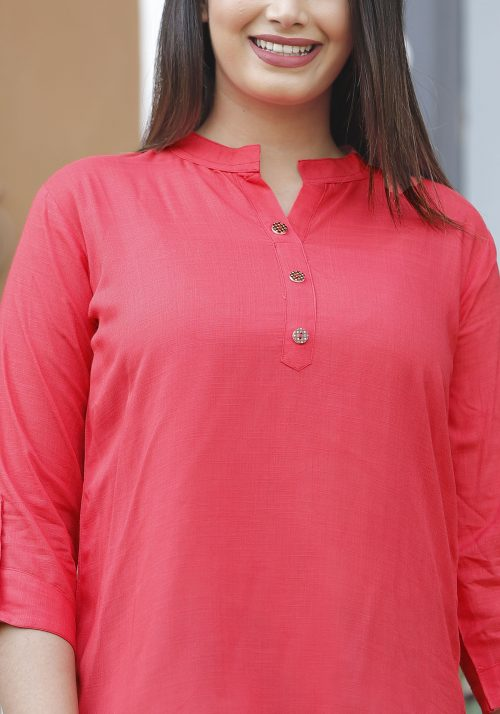 Vastralay Red Rayon Collar Top