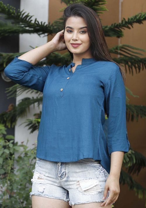 Rayon Turquoise Blue Collar Top